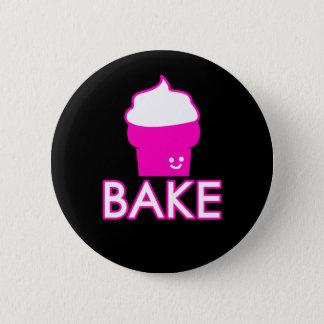 Bóton Redondo 5.08cm Assar - design do cupcake - texto branco