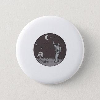Bóton Redondo 5.08cm Astronauta que aponta linha da canela da lua das