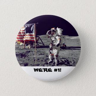 Bóton Redondo 5.08cm Astronauta que sauda a bandeira americana