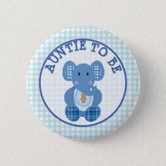 Bóton Redondo 5.08cm Auntie a ser elefante do azul do botão do chá de