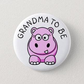 Bóton Redondo 5.08cm Avó a ser botão do chá de fraldas do hipopótamo