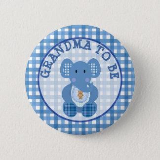 Bóton Redondo 5.08cm Avó a ser elefante do azul do botão do chá de