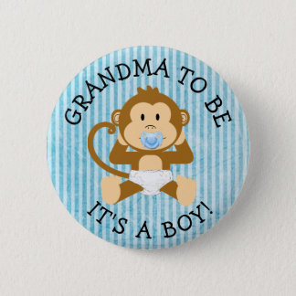 Bóton Redondo 5.08cm Avó a ser sua um botão do chá de fraldas do macaco