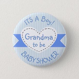 Bóton Redondo 5.08cm Avó azul do botão do chá de fraldas a ser botão