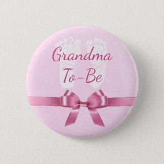 Bóton Redondo 5.08cm Avó cor-de-rosa do arco a ser botão do chá de