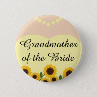 Bóton Redondo 5.08cm Avó dos girassóis da noiva que Wedding o Pin