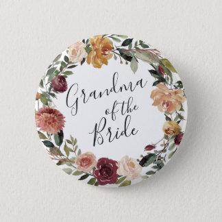 Bóton Redondo 5.08cm Avó rústica da flor da noiva
