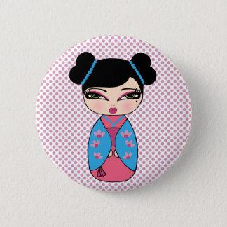 Bóton Redondo 5.08cm Azul da boneca de Kokeshi, botão redondo da