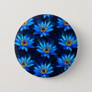 Bóton Redondo 5.08cm azul do lírio de água de Van Gogh