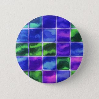 Bóton Redondo 5.08cm Azulejos de vidro azuis