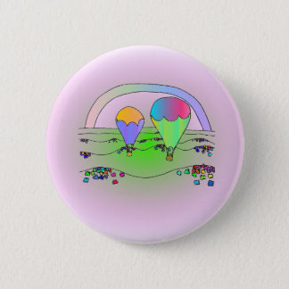 Bóton Redondo 5.08cm Balões de ar quente do arco-íris