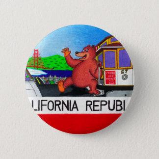 Bóton Redondo 5.08cm Bandeira 2 do urso de San Francisco Califórnia