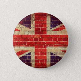 Bóton Redondo 5.08cm Bandeira BRITÂNICA do vintage em uma parede de