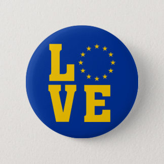 Bóton Redondo 5.08cm Bandeira da UE, União Europeia, AMOR