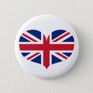 Bóton Redondo 5.08cm Bandeira dada forma coração/Union Jack de Reino