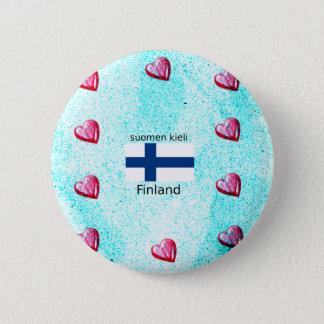 Bóton Redondo 5.08cm Bandeira de Finlandia e design finlandês da língua