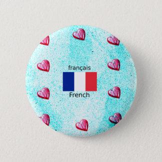 Bóton Redondo 5.08cm Bandeira de France e design da língua francesa