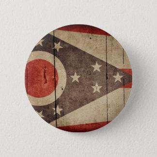Bóton Redondo 5.08cm Bandeira de madeira áspera de Ohio