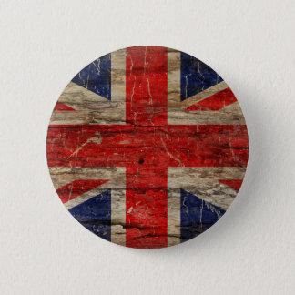 Bóton Redondo 5.08cm Bandeira de madeira de Union Jack do vintage