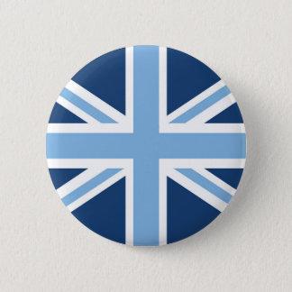 Bóton Redondo 5.08cm Bandeira de Union Jack no céu e nos azuis marinhos