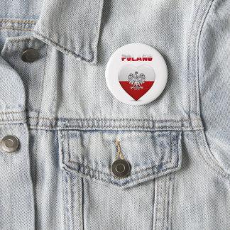 Bóton Redondo 5.08cm Bandeira polonesa do coração