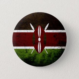 Bóton Redondo 5.08cm Bandeira preta de Kenya do Grunge