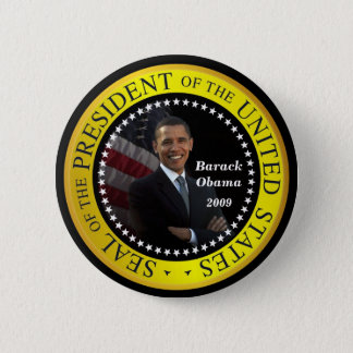 Bóton Redondo 5.08cm Barack Obama - botão presidencial do selo