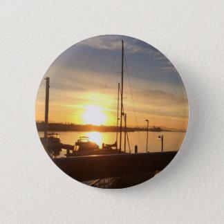 Bóton Redondo 5.08cm Barcos no porto no por do sol