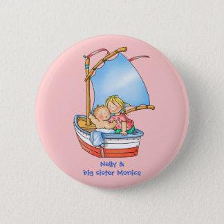 Bóton Redondo 5.08cm Bebé & irmã mais velha novos no botão do barco
