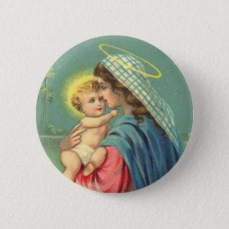 Bóton Redondo 5.08cm Bebê Jesus e botão da Virgem Maria