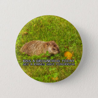 Bóton Redondo 5.08cm Beije um groundhog hoje. Obtenha um botão do tiro