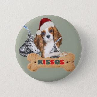 Bóton Redondo 5.08cm Beijos descuidados do Natal do Spaniel de rei