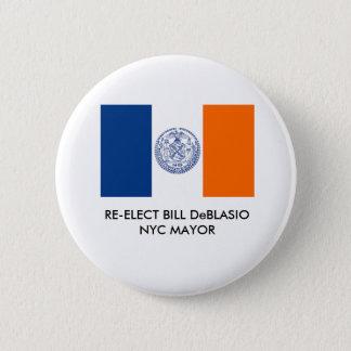 Bóton Redondo 5.08cm Bill DeBlasio para o Mayor Botão da Nova Iorque