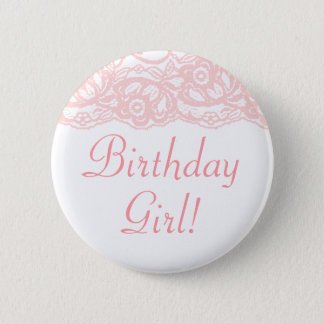 Bóton Redondo 5.08cm Bonito na menina cor-de-rosa do aniversário! Botão