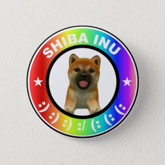 Bóton Redondo 5.08cm Bonito super do botão do arco-íris de Shiba Inu
