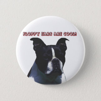 Bóton Redondo 5.08cm Boston Terrier:  As orelhas flexíveis são legal!