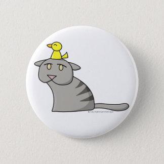 Bóton Redondo 5.08cm Botão 01 do design do gato e do pássaro