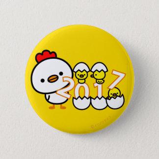 Bóton Redondo 5.08cm botão 2017 do ano novo da galinha