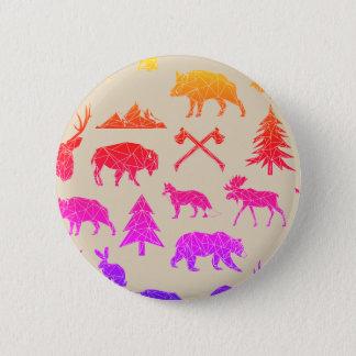 Bóton Redondo 5.08cm Botão animal geométrico dos animais | da floresta
