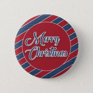 Bóton Redondo 5.08cm Botão azul branco vermelho do Feliz Natal da sarja