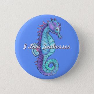 Bóton Redondo 5.08cm Botão azul do cavalo marinho