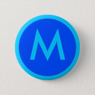 Bóton Redondo 5.08cm Botão azul do crachá do Aqua da letra M