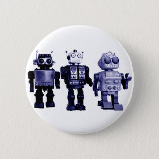 Bóton Redondo 5.08cm botão azul dos robôs