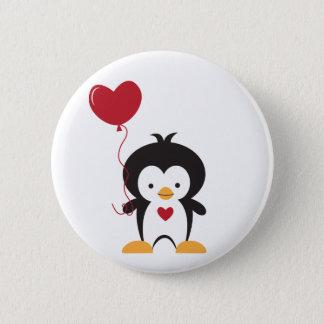 Bóton Redondo 5.08cm Botão bonito do pinguim e do balão do coração