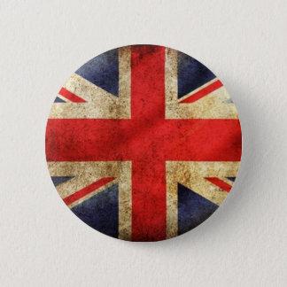 Bóton Redondo 5.08cm Botão britânico da bandeira do Grunge centrado
