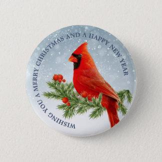 Bóton Redondo 5.08cm Botão cardinal vermelho do Feliz Natal do pássaro