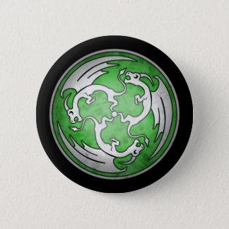 Bóton Redondo 5.08cm Botão celta de três dragões - verde