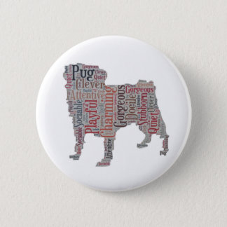Bóton Redondo 5.08cm Botão colorido das palavras da silhueta do Pug