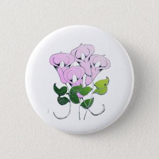 Bóton Redondo 5.08cm Botão com arte da flor do lírio