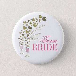 Bóton Redondo 5.08cm Botão cor-de-rosa do casamento da noiva da equipe